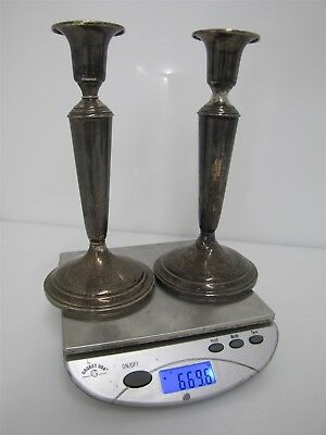 Pair Vintage Sterling Silver Weighted Candlestick Sheffield 669.6g