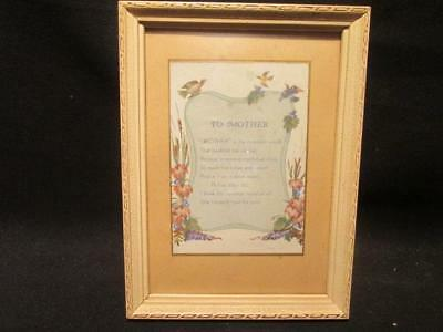 "Mother Is The Sweetest Word 1949 Vintage Framed 8X6""  Plaque Motto-Graph?"