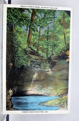 Indiana IN Turkey Run State Park Rocky Hollow Devil's Punch Bowl Postcard Old PC