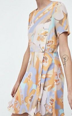 ZARA floral Print Viscose Pastel Short Summer Dress Size Medium New WT SOLD OUT