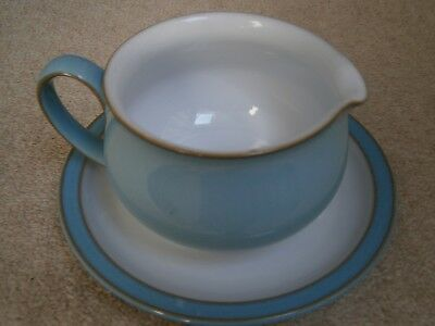 Lovely Denby Colonial Blue Gravy Boat & Saucer Discontinued Collectible