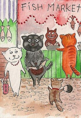 1.5x2 DOLLHOUSE MINIATURE PRINT OF PAINTING RYTA 1:12 SCALE CATS FISH ANIMATION