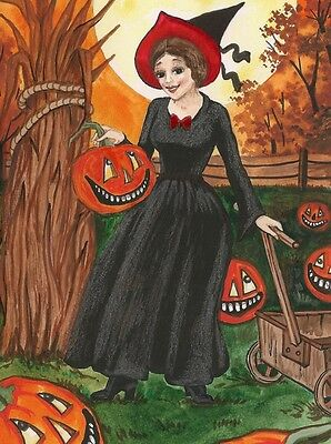 1.5x2 DOLLHOUSE MINIATURE PRINT OF PAINTING RYTA 1:12 SCALE HALLOWEEN WITCH JOL