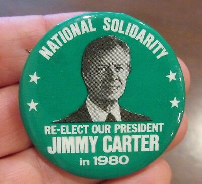 1980 Re-Elect Our President Jimmy Carter National Solidarity Pin Back Button