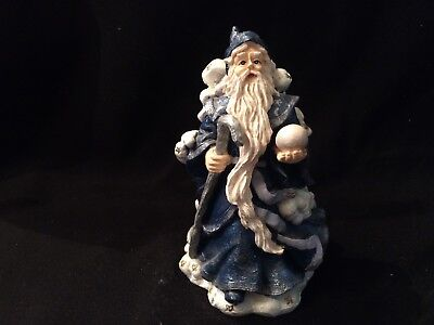 Wizard Standing on and Covered w/Clouds Holding Crystal Ball & Staff 4 3/4""