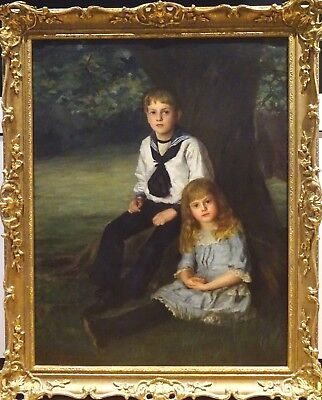 Fine Large 19th Century Brother & Sister Park Portrait Antique Oil Painting