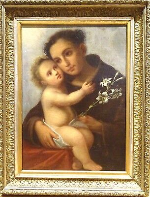 Fine Large 17th Century Italian Old Master Anthony Of Padua & Infant Christ