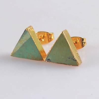 10mm Triangle Natural Genuine Turquoise Stud Earrings Gold Plated T065229