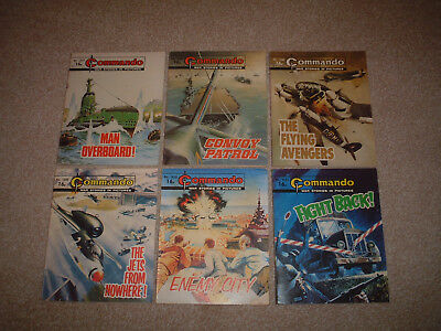 6 VERY EARLY OLD COMMANDO COMIC BOOKS 1500's WAR STORIES BUNDLE JOB LOT
