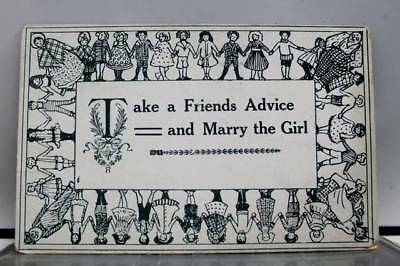 Comic Cartoon Take a Friends Advice Marry the Girl Postcard Old Vintage Card PC
