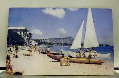 Hawaii HI Waikiki Beach Pan American Clipper Postcard Old Vintage Card View Post