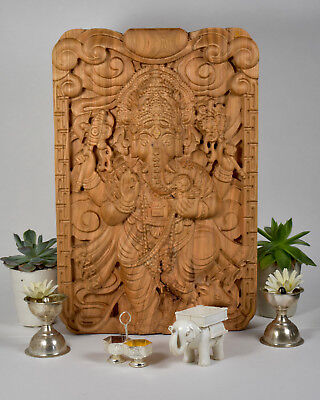 Ganesha Relief Wood Carving 14