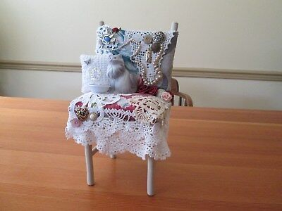 Pincushion with Cat & covered with vintage bark cloth and more