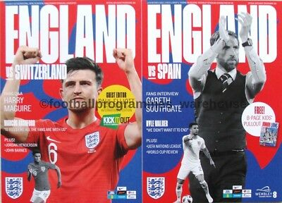 ENGLAND v Spain & v Switzerland - set of BOTH September match programmes 2018