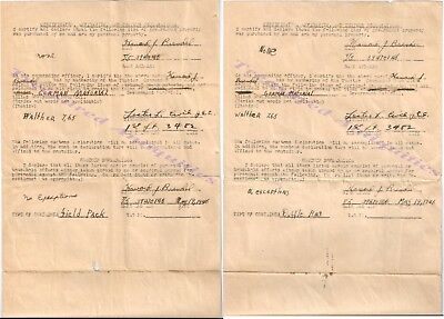 WWII US Army GI Captured German Walther 7.65 Pistol Customs Declaration Forms