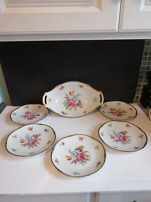 Vtg Schumann Dresden Hand Painted Floral Bowl w Five Salad Plates GERMANY