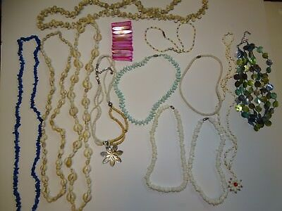 Vintage Lot 13 Of Mother Of Pearl Mop Shell Necklaces And Bracelet Pretty