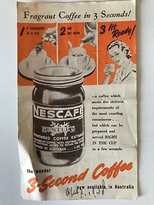 Nescafe Coffee Vintage Advertising Flyer - 1940's - Grocery Display