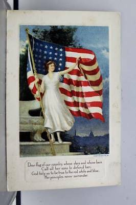 Greetings Dear Flag Of our Country Postcard Old Vintage Card View Standard Post