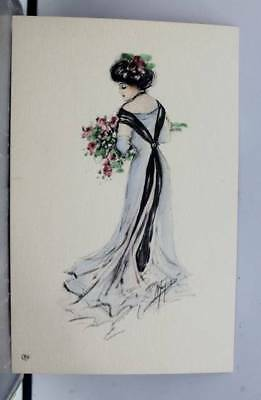 Greetings Woman With Flowers Postcard Old Vintage Card View Standard Souvenir PC
