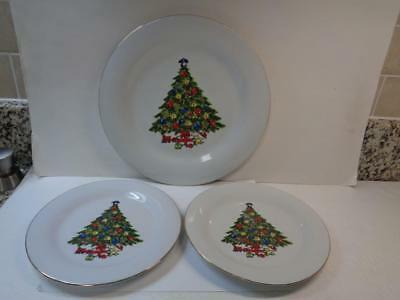 3 Sea Gull Fine China By Jian Shiang Chirstmas Tree 1 Dinner & 2 Salad Plates