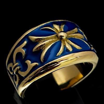 Medieval Bronze Mens Knight Ring Fleur De Lis Cross Lily Blue Enamel Any Size