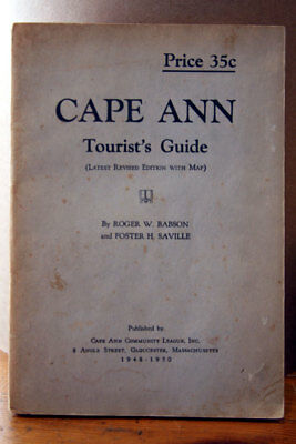 CAPE ANN Tourist's Guide by Roger W. Babson & Foster H. Saville 1948-1950 MA MAP