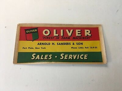 1950's Oliver Farm Machinery, Arnold H. Sanders & Son, Fort Plain, NY decal
