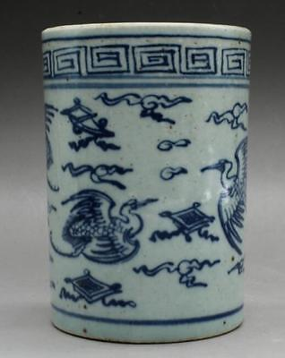 Chinese old Blue & white porcelain Hand painted  flower bird brush pot c01