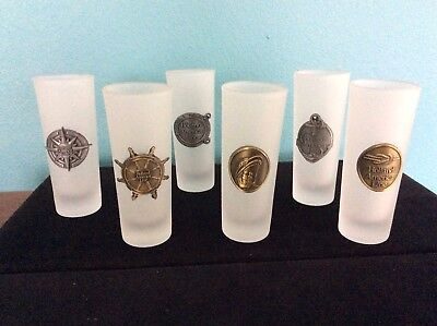 Holland America Cruise Line Tall Frosted Shot Glasses With Emblems  LOT of 6