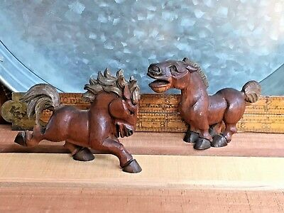Pair of hand carved wood horses Americana folk art sculpture vintage antique