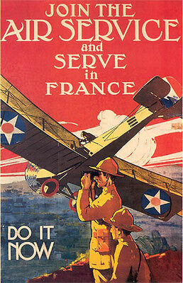 Vintage US Air Service Recruiting Poster WW 1