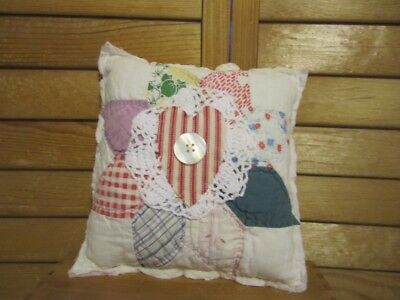 Primitive Quilted pillow -vintage quilt - white doily - red ticking heart