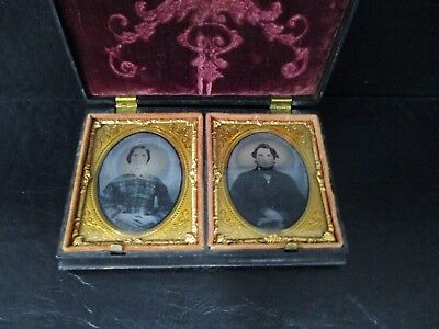 Ambrotype x 2 photos in Black  Union case Husband and Wife