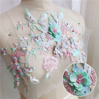 1PC Flower Embroidery Lace Bridal Wedding Dress Appliques Beaded Pearl Tulle DIY