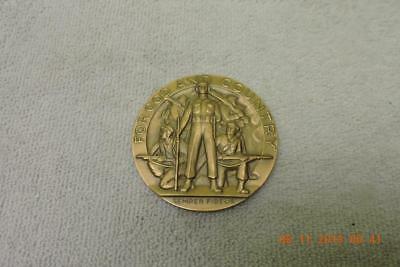 WWII American Legion School Award Medallic Art Bronze Medal FOR GOD AND COUNTRY
