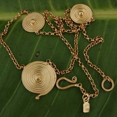Sterling Silver Roman Art Turkish Handmade Necklace W/ Spiral 24k Gold Plated