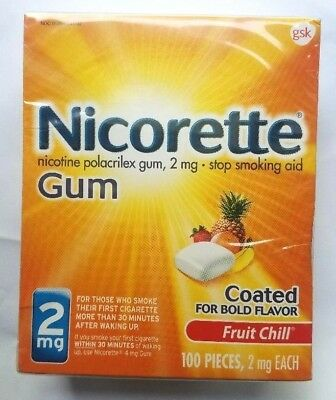 Nicorette Gum 2mg Fruit Chill 100 Pieces Exp 12/2020 Stop Smoking Aid, Coated