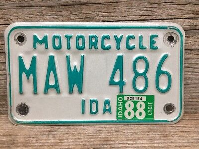 Vintage Idaho Motorcycle License Plate 1988 MAW 486 Green & White Nice Condition