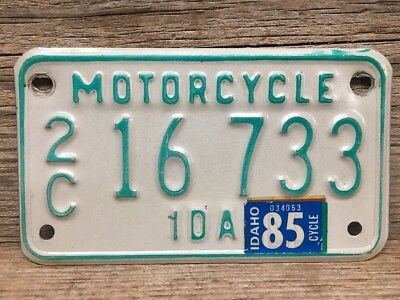 Vintage Idaho Motorcycle License Plate 1985 2C Canyon County Nice Condition