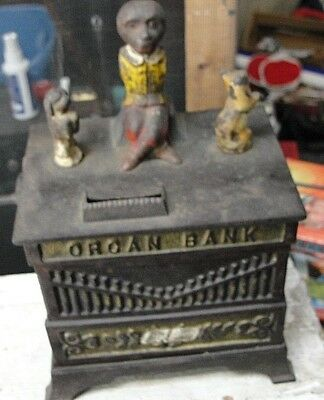 1882 Cast Iron Mechanical ORGAN BANK Vtg Antique BLACK MAN AMERICANA CAT & DOG