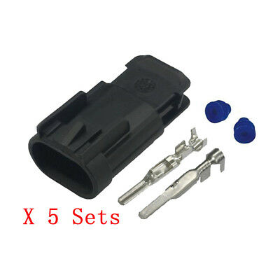 5 Sets 2 Pin Male Harness Waterproof Car Connector with Terminal J7025D-2.8-11