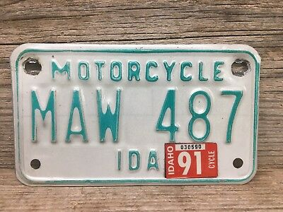 Vintage Idaho Motorcycle License Plate 1981 2C Canyon County Nice Condition