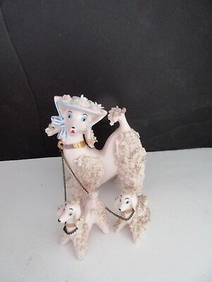 Vtg Pink Spaghetti Poodle in Bonnet FIGURINE w Two Puppies
