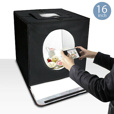 """Lusana Studio 16"""" Photo Cube Box Continuous Lighting Tent with White Background"""