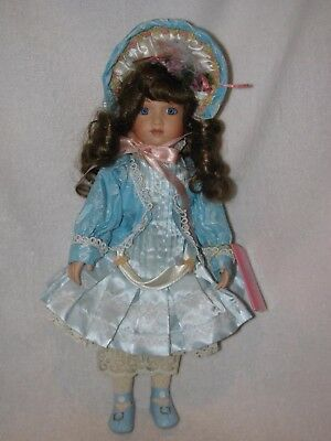 """Beautiful 14"""" Porcelain Doll Dressed Nice By Paradise Galleries 1998"""