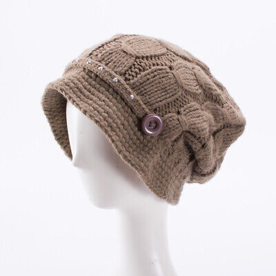 A291 Flower Womens Cotton Winter Knitted Beanie Slouchy Baggy Bucket Cap Hat