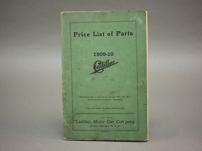 Early Brass Er 1909 1910 09 Cadillac Price List Of Parts And Schematics See More