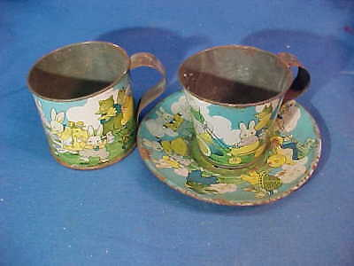 3pc 1920s PETER RABBIT Tin Litho CUP + SAUCER By HARRISON CADY
