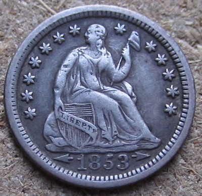 1853-O Liberty Seated Half Dime, w/ Arrows Type, Better New Orleans Date, VF